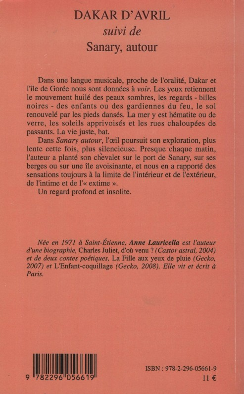 Anne Lauricella Dakar D'avril 4e couv L'Harmattan