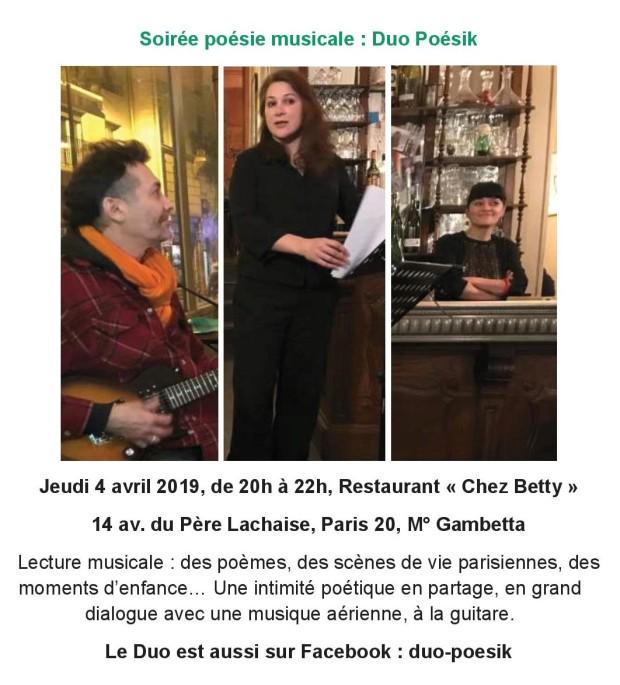 Lecture musicale poésie - restaurant paris 20 - duo Poésik - Anne Lauricella Jak Belghit