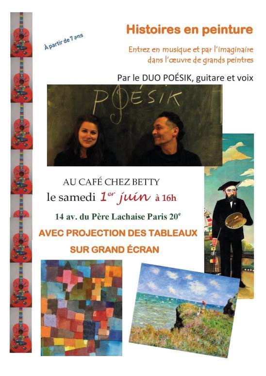 Duo Poésik Lauricella Belghit - Histoires musicales - peinture -Grands peintres - café chez Betty - Gambetta Paris 20