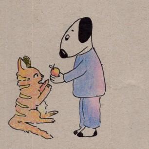 Anne Lauricella Carnet de dessins - Luchien chat pomme